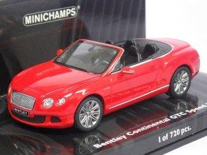 画像1: ミニチャンプス ベントレー コンチネンタル GT スピード コンバーチブル RED